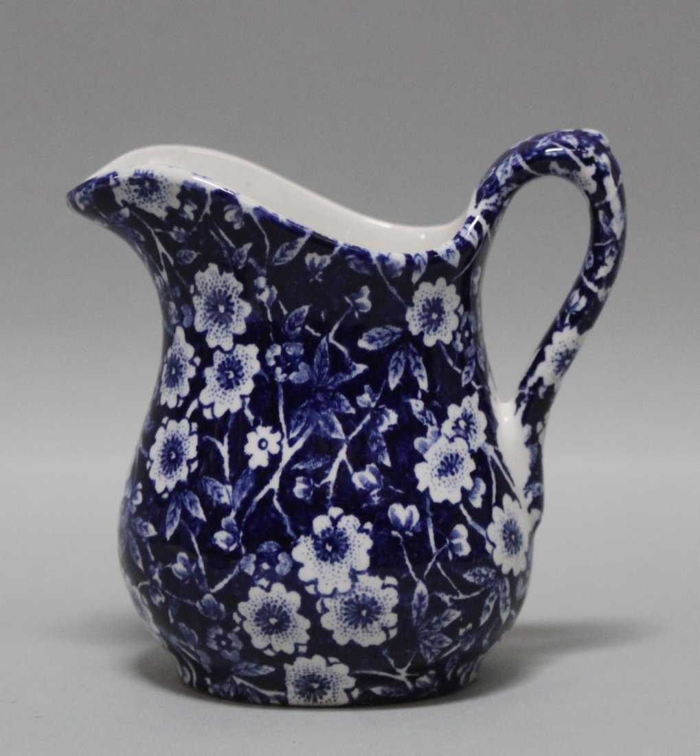 English Porcelain Blue Floral Design Milk Pitcher