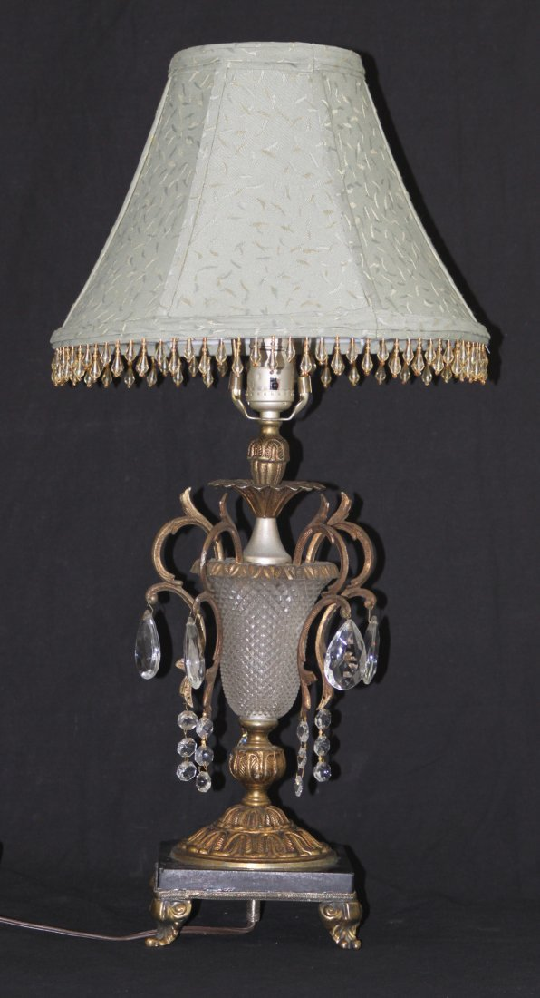 Antique Brass & Depression Glass Crystal Table Lamp 25""