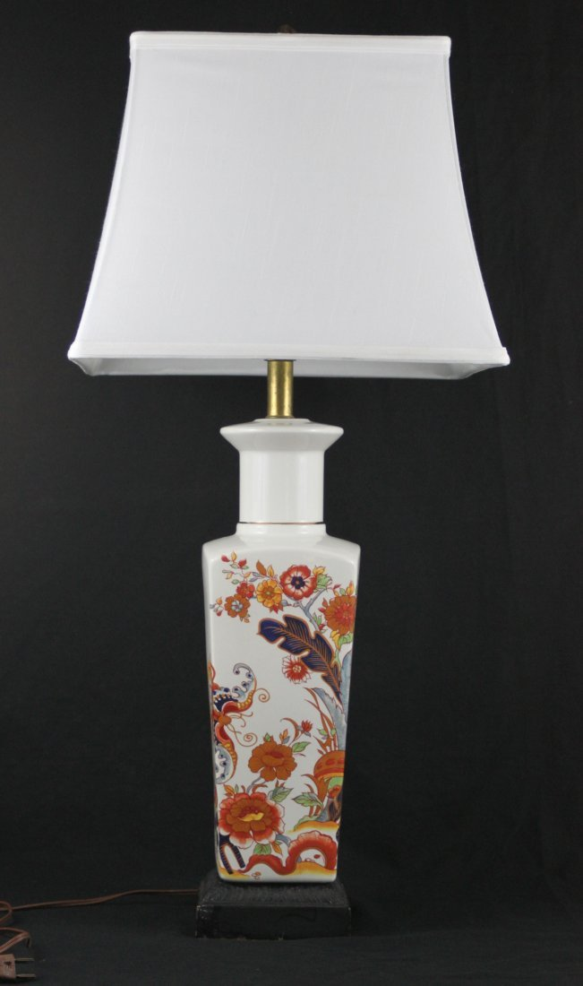 Vintage Asian Flower Garden Porcelain Lamp 29""