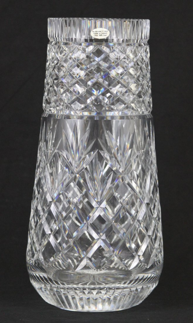 "Vintage Etched Irish Lead Crystal 12"" Vase"
