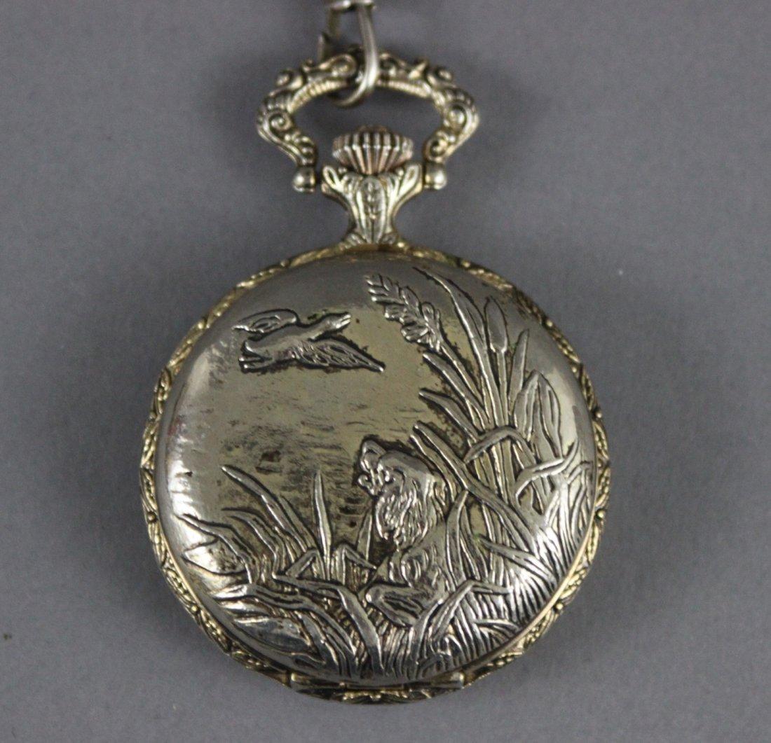 Vintage REMINGTON Pocket Watch WIND UP Engraved Ducks - 3