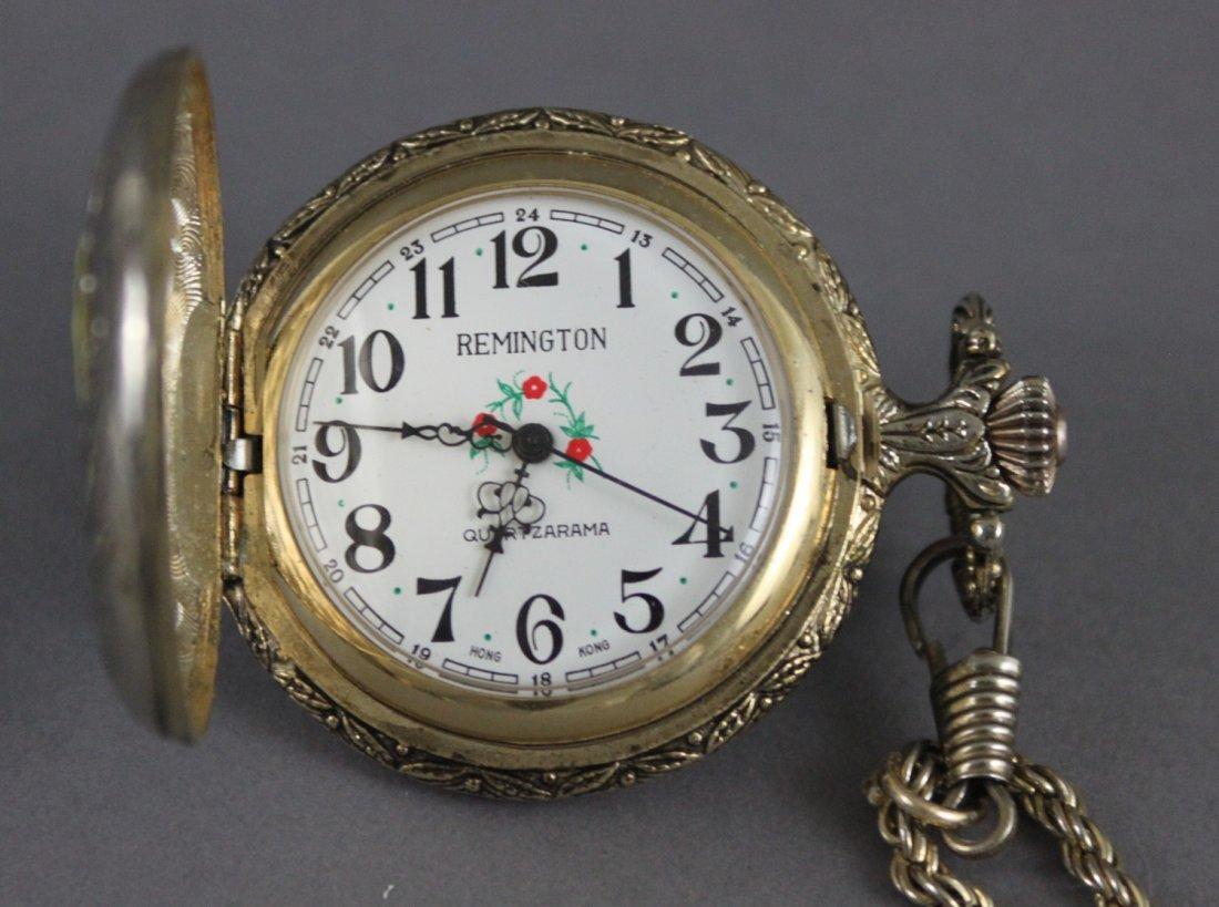 Vintage REMINGTON Pocket Watch WIND UP Engraved Ducks - 4