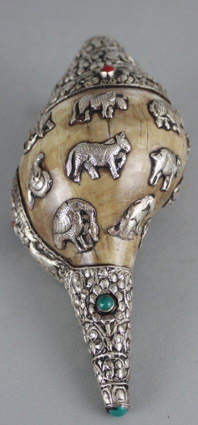Tibetan Silver Ritual Conch Shell Trumpet Sankha Coral