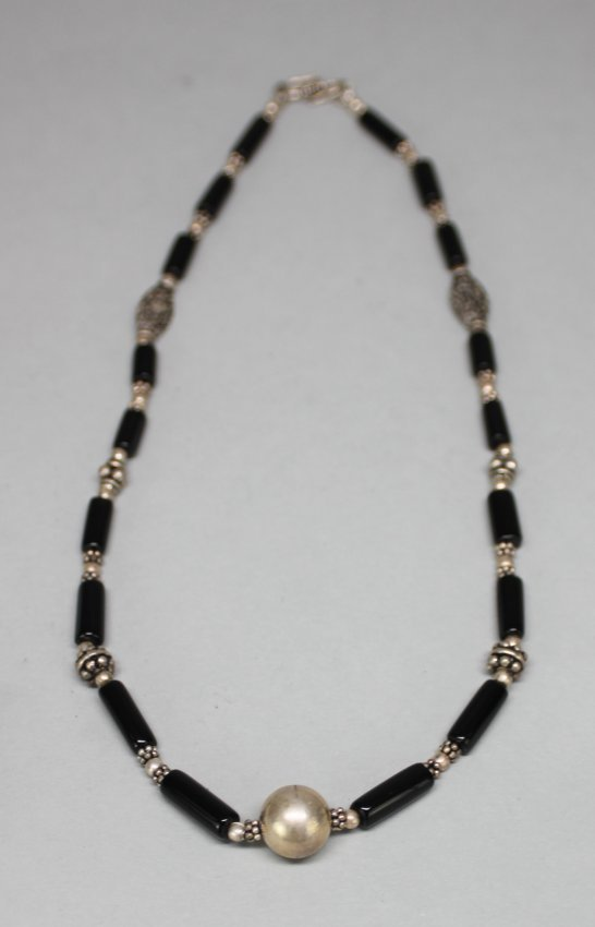 Nepal Silver and Onyx Beaded Necklace