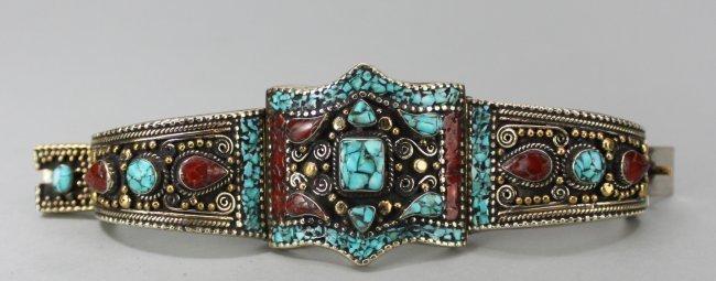 Ornate Tibetan Silver Turquoise & Carnelian Bracelet