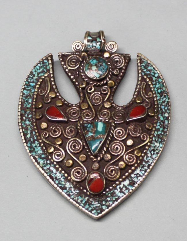 Nepal Silver Gau Pendant w Filigree & Turquoise