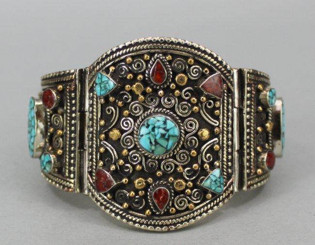 Elegant Hinged Nepal Bracelet with Gilded Beads