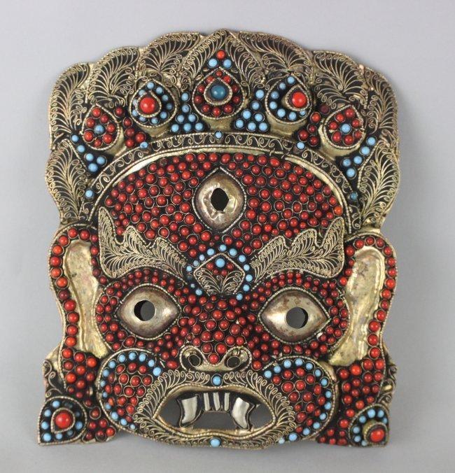 Nepalese Brass Ganesh w/ Filgree Turquoise & Coral