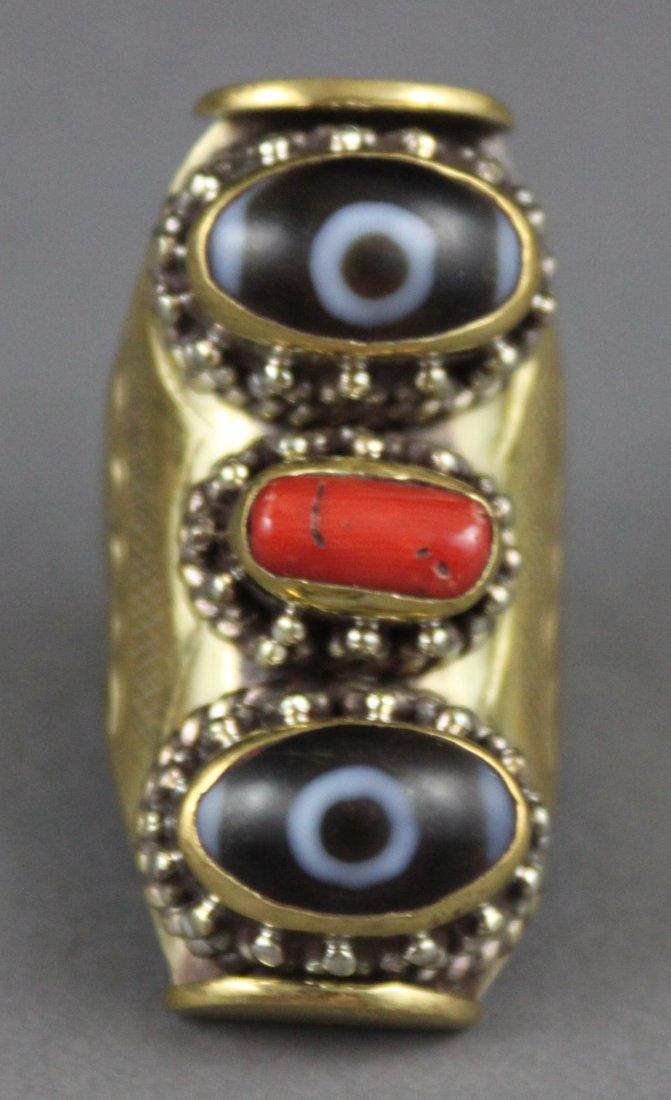 "Unusual Men's Nepal Tibetan ""Catseye""  & Coral Ring"