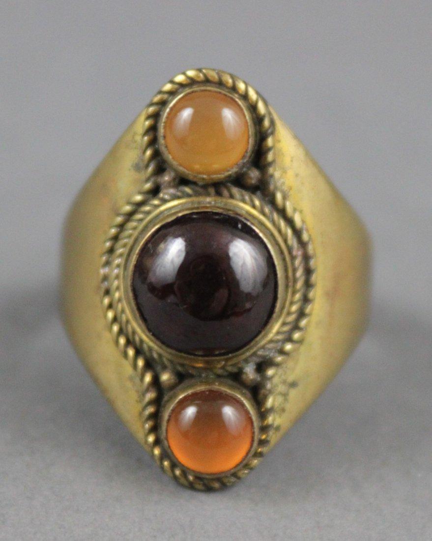 Nepalese Onyx & Orange Crystal Ring