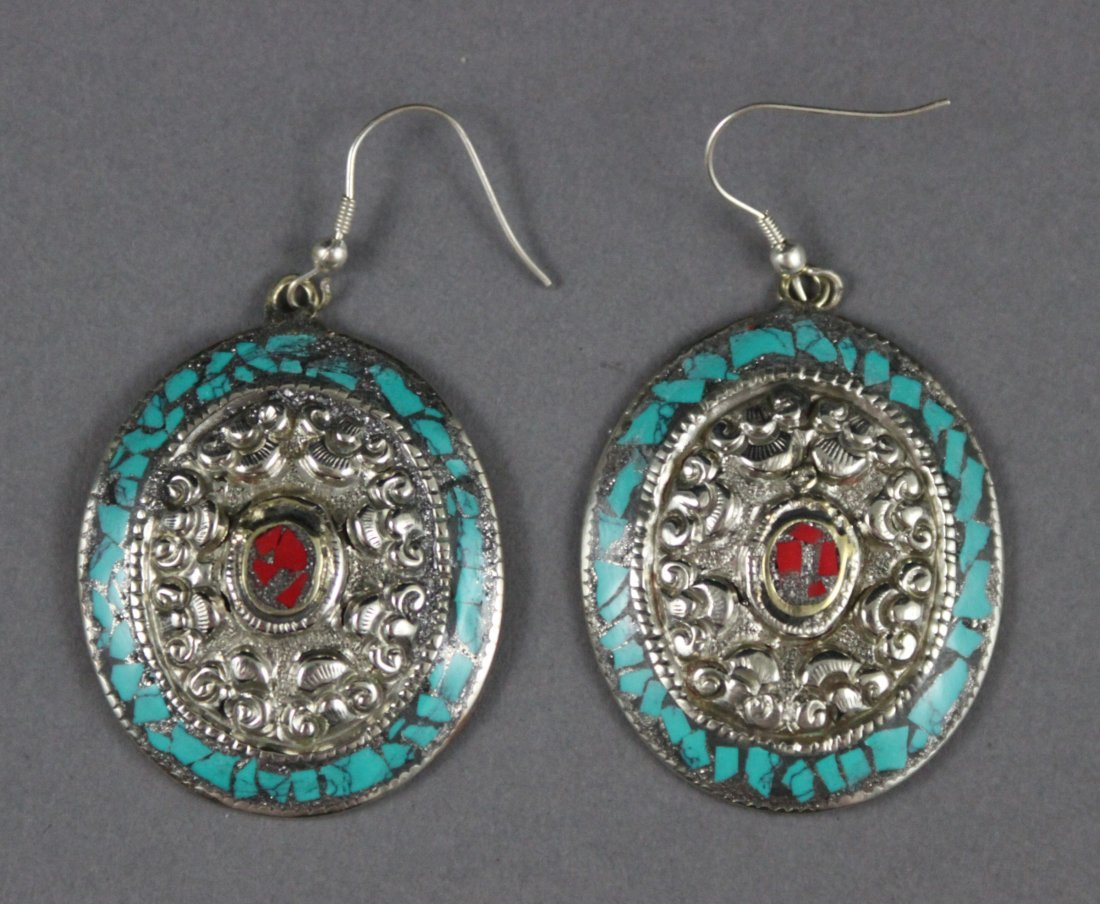 Nepal Tibetan Silver Etched Earrings with Turquoise