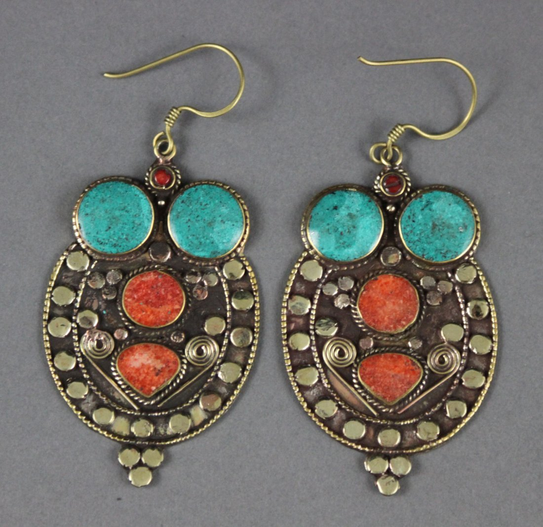 Nepal Tibetan Earrings inset Coral & Turquoise