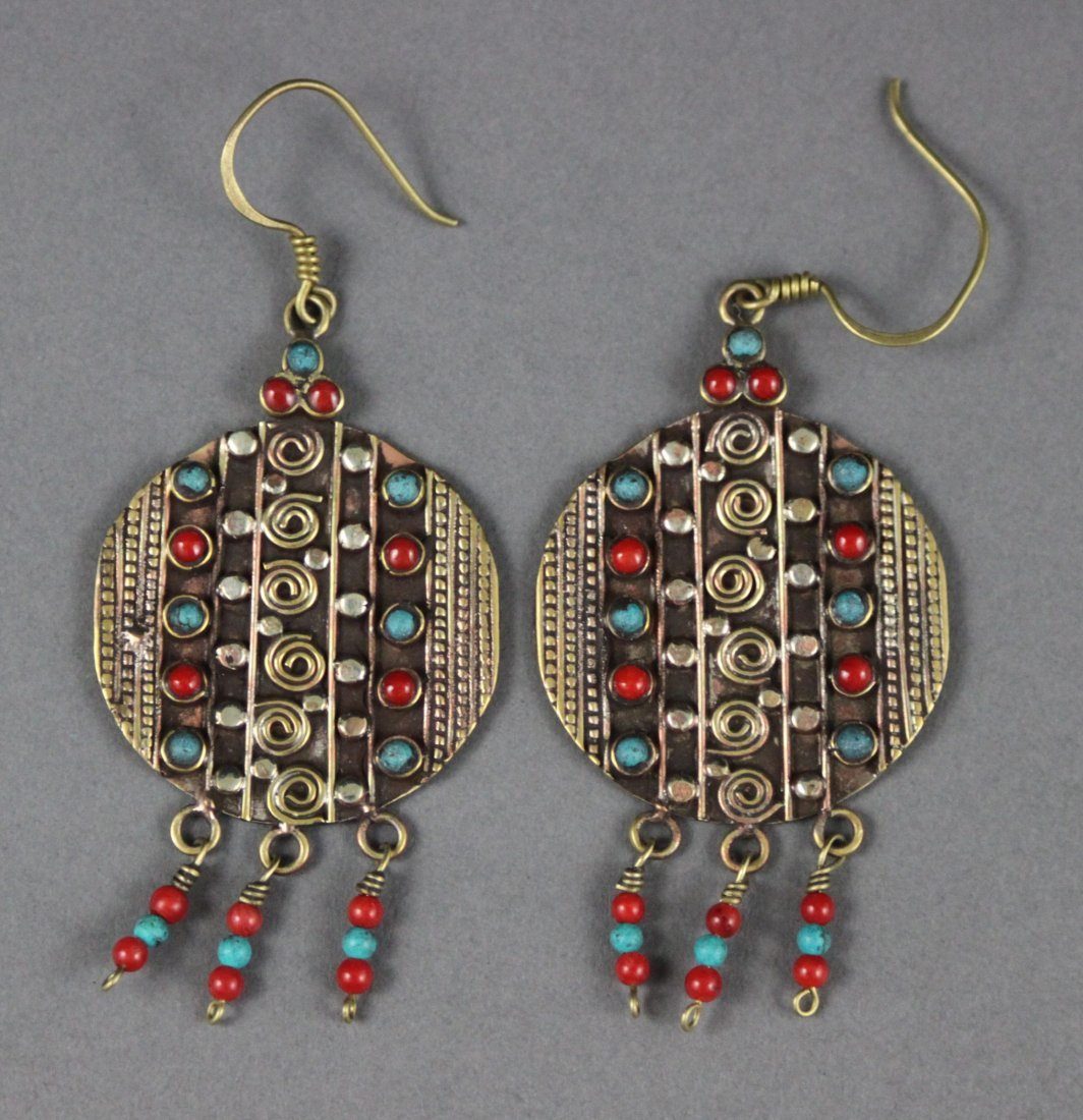 Tibetan Earrings Filigree with Turquoise & Coral Beads