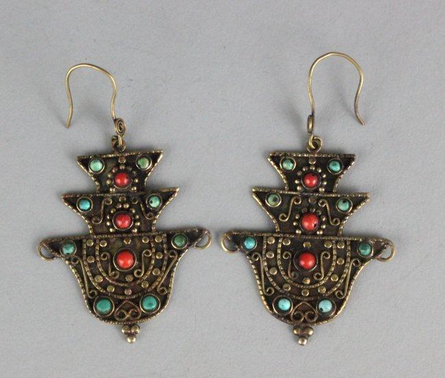 Nepal Tibetan Earrings W Turquoise & Coral Beads