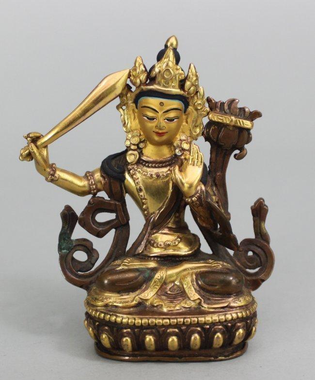 Manjushree Gilded Bronze Seated w Sword on Lotus Throne