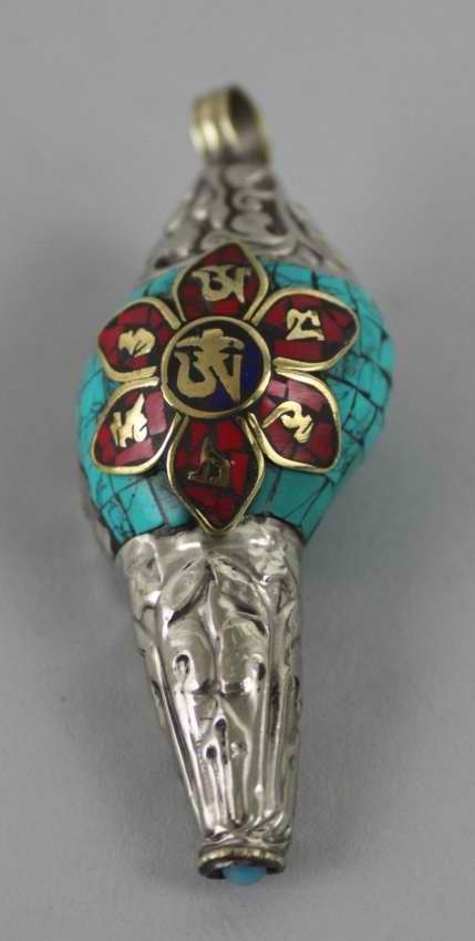 Tibetan Conch Shells Om Manipadmehum Pendant w/ Mantra