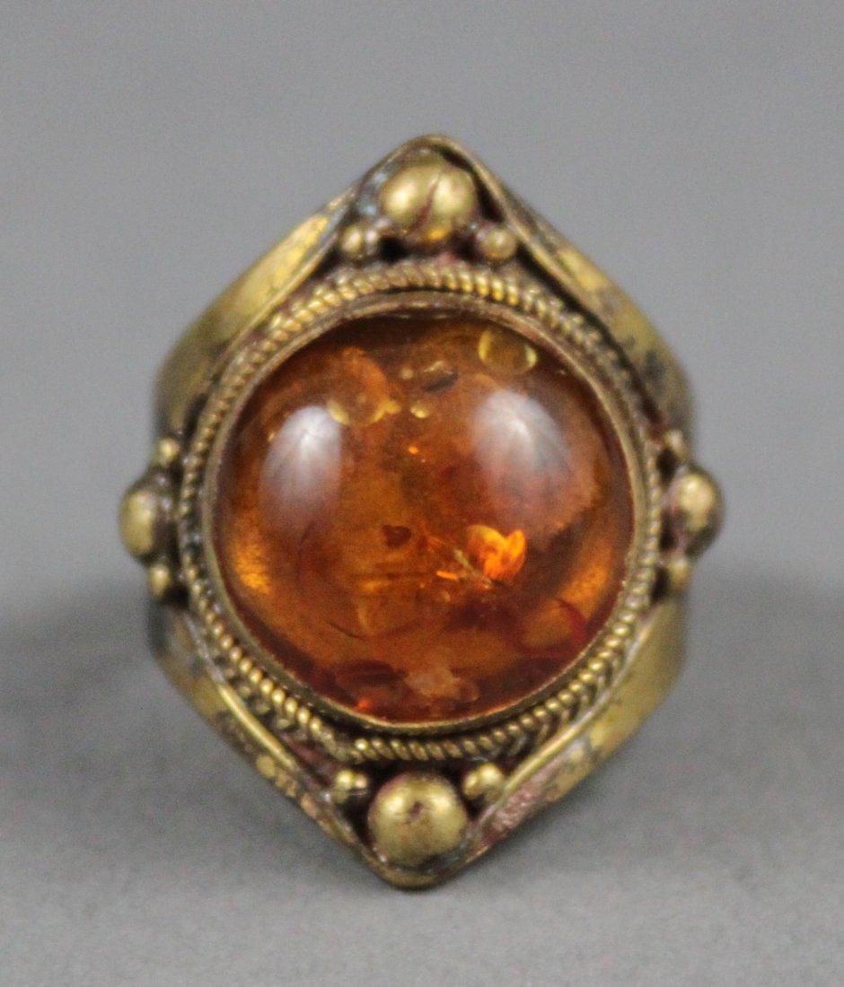 Men's Nepal Tibetan Ring Amber stone
