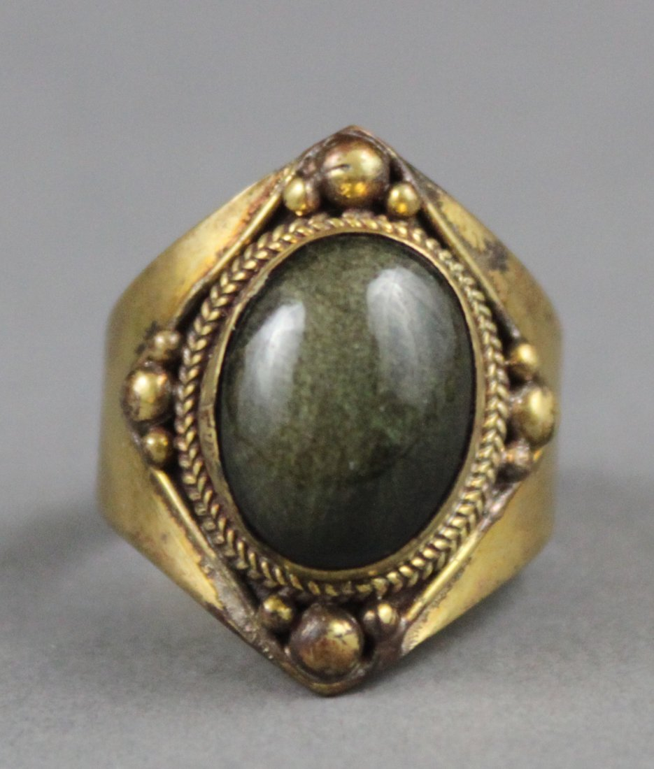 Men's Nepal Tibetan Brass Ring with dark Green Cabachon