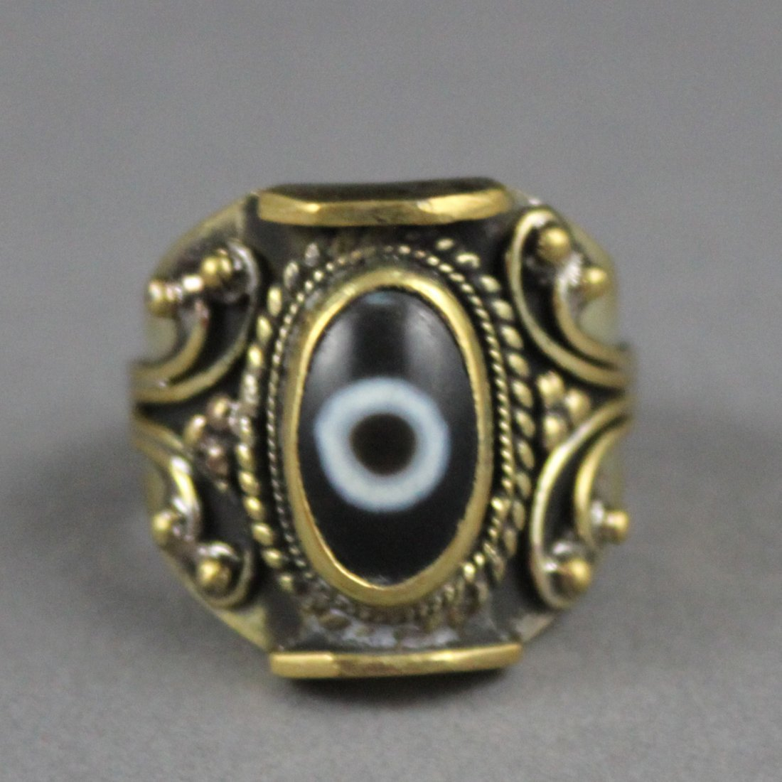 "Nepal Ring with ""Catseye"" Cabachon Stone"