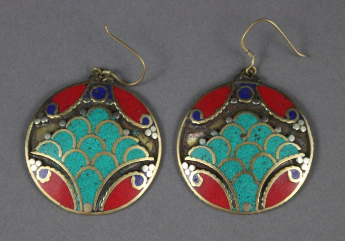 Pair Nepal Tibetan Coral & Turquoise Earrings