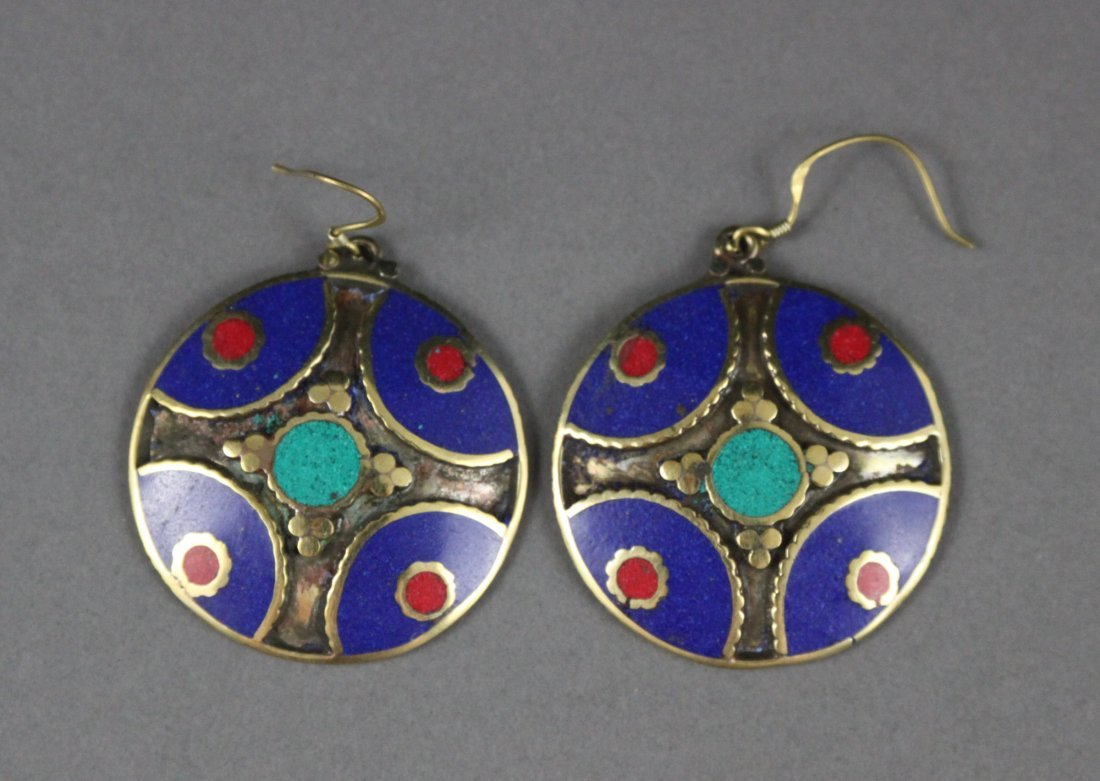 Pair Nepal Tibetan Lapis & Turquoise Earrings