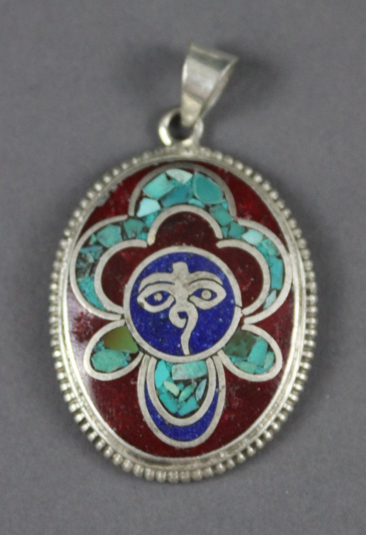 Tibetan Silver Pendant inlaid with Coral & Turquoise