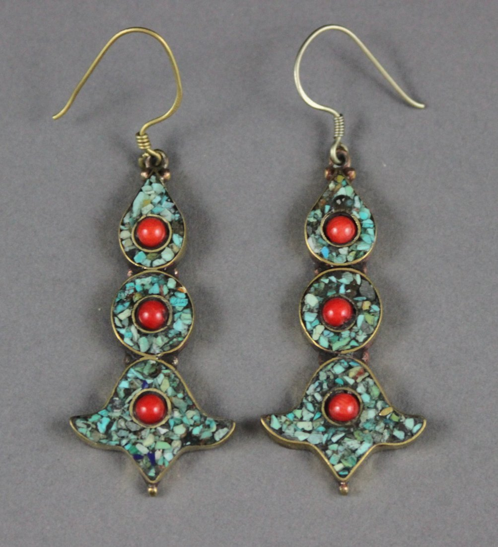 Nepalese Silver Earrings Inlaid with Turquoise & Coral