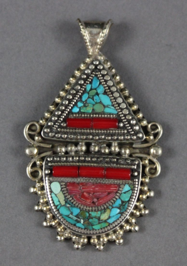 Nepal Hinged Beaded Silver Pendant Coral & Turquoise