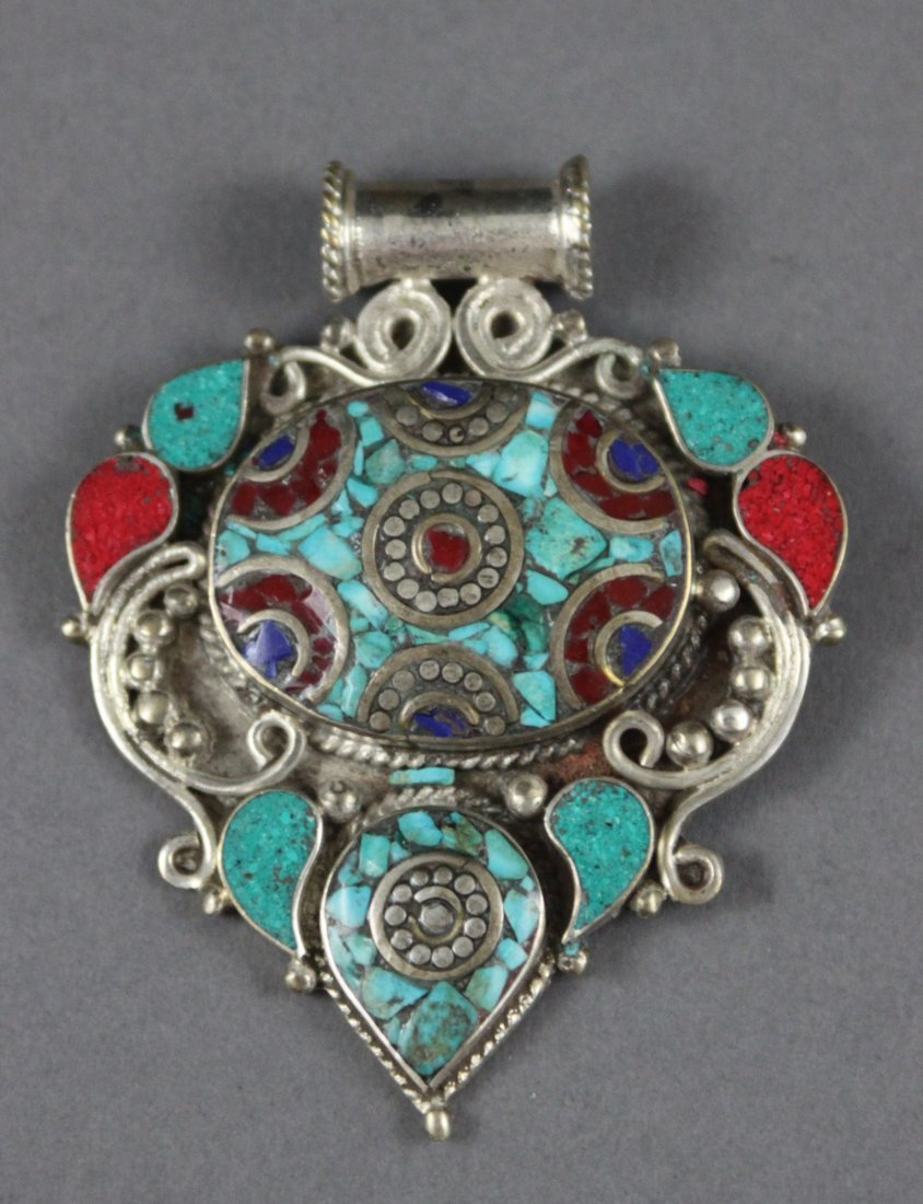 Nepalese Silver Gau Pendant Turquoise & Coral