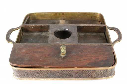 - Antique Chinese Scholar's Desk Set Cloissone Wood & Bro