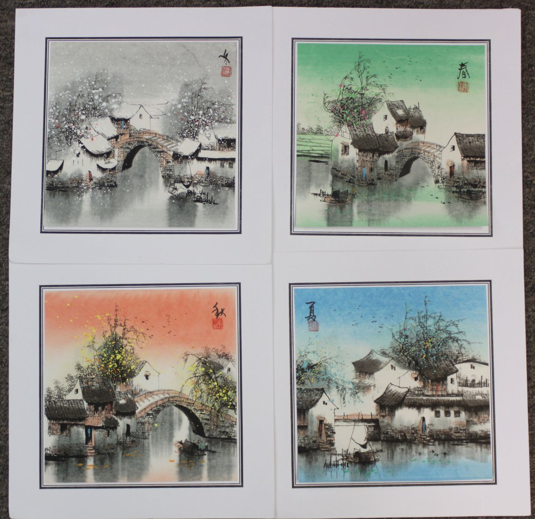 Set of 4 Chinese Pen & Ink Four Seasons Paintings