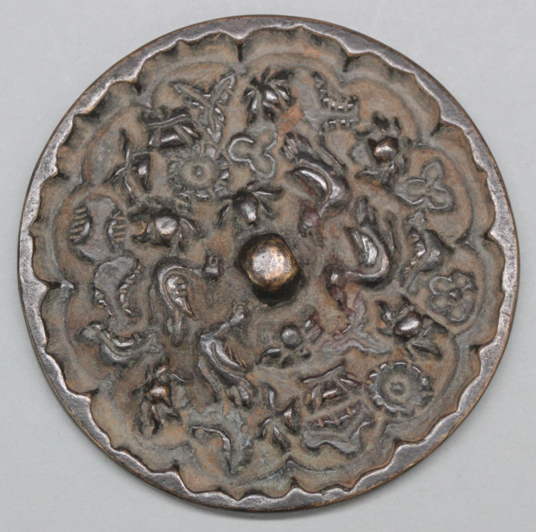 Antique Chinese Bronze Mirror Engraved Birds