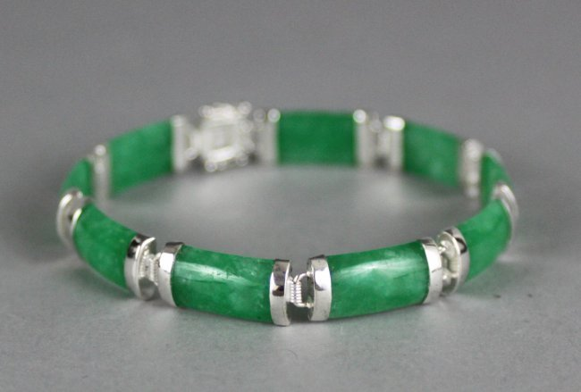 Chinese Green Jadeite & silver Bangle Bracelet