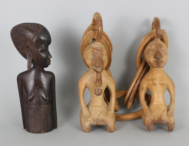 African Wood Carvings Figurines Tools & a Stand