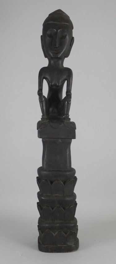 Antique Carved Dark Wood African Nude Woman on Pedestal
