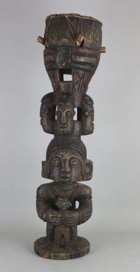Antique African Ceremonial Totem Pole Carved Wood Drum