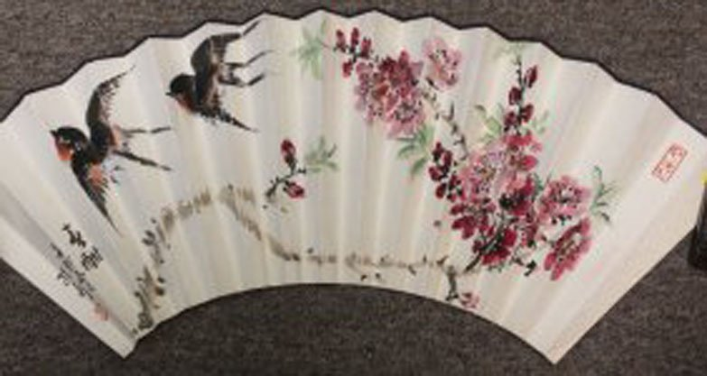 Chinese Pen & Ink Fan Painting Swallows & Calligraphy