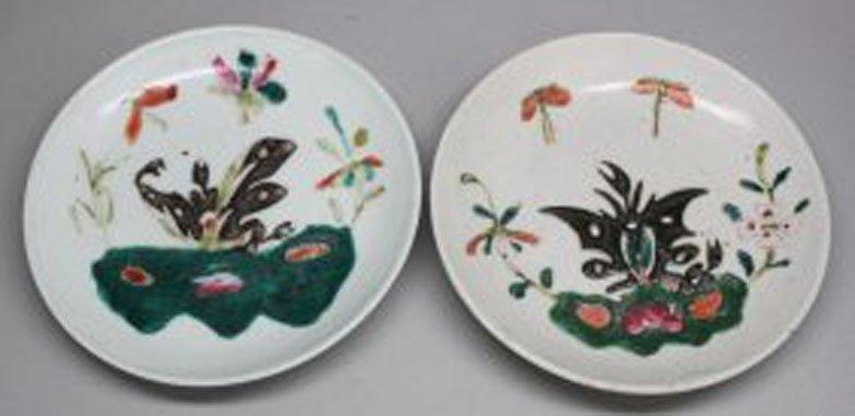 Pair Antique Chinese Porcelainn Plates Butterfly circa