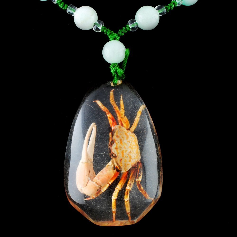 Chinese Jade and Crystal Necklace with Crab Pendant