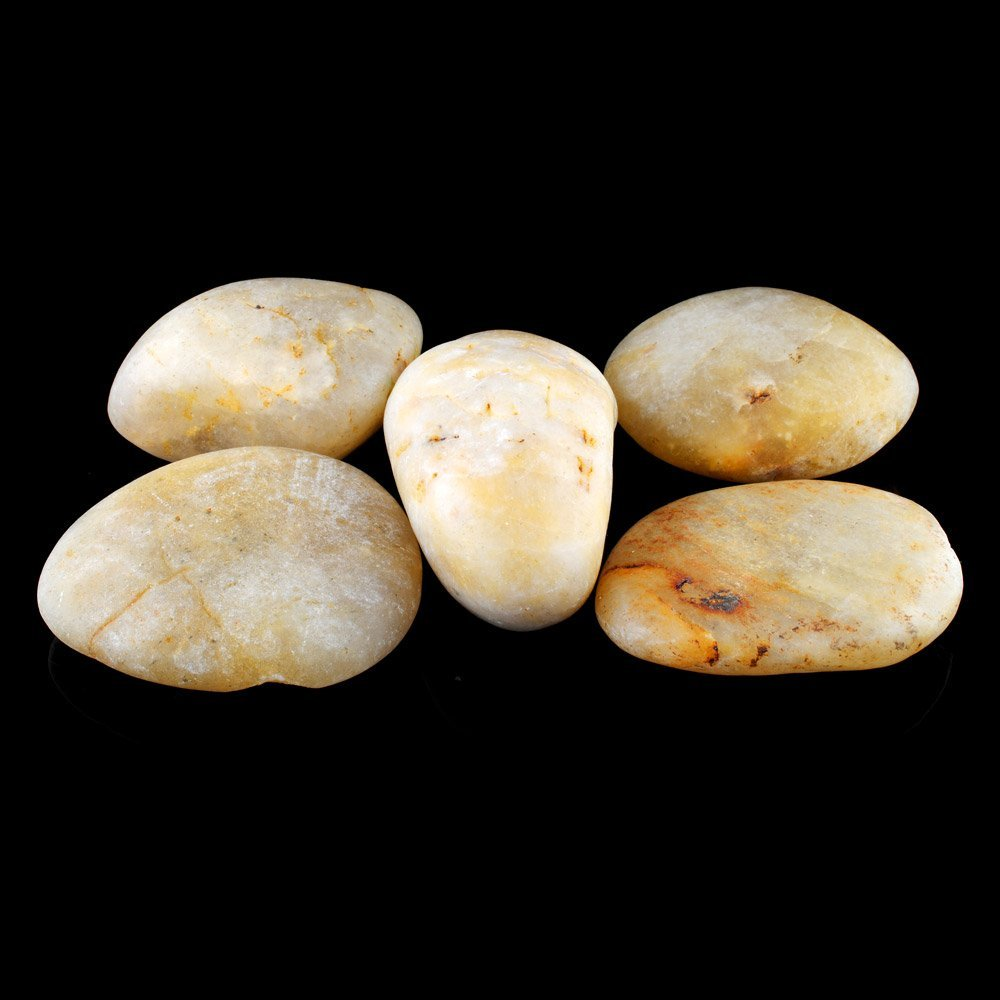 Set of 5 Chinese Jade Large Carved Pebbles