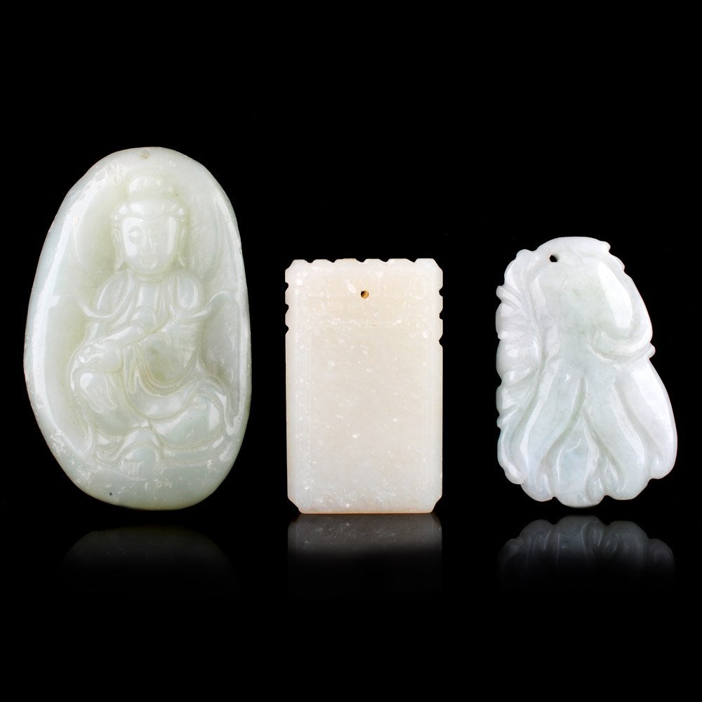 Set of Three Old Carved Jade Chinese Pendants