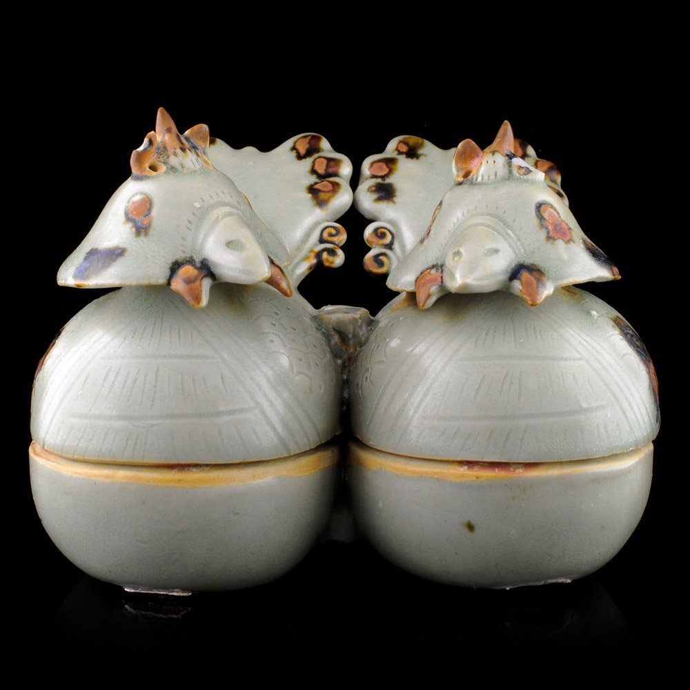 Pair of Chinese Yue Ware Porcelain Lidded Duck Box