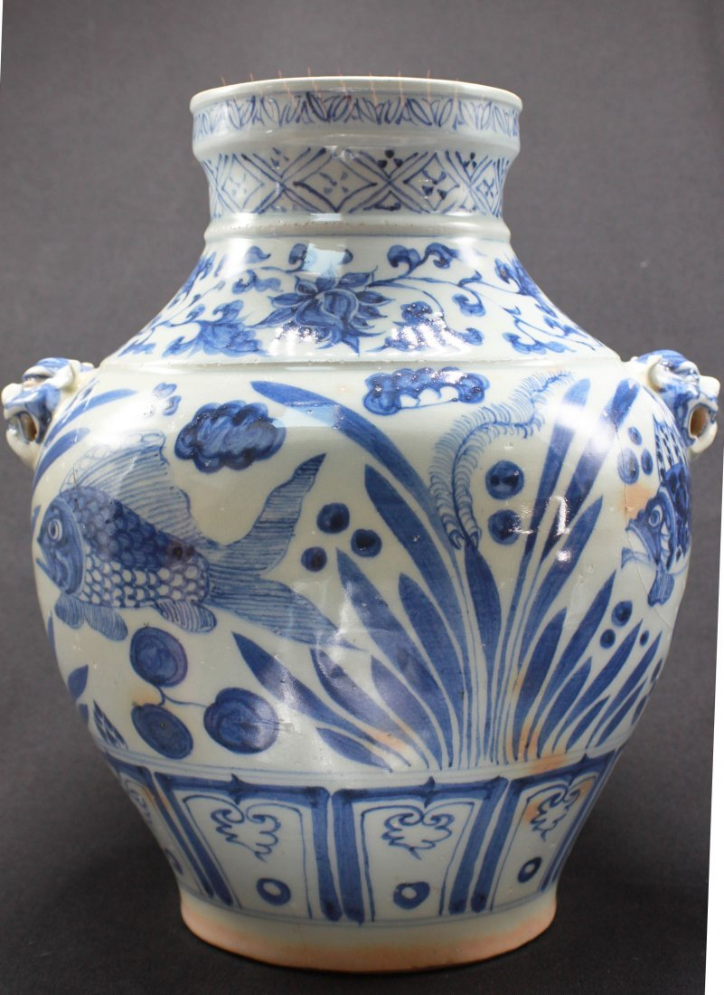 Antique Chinese Large Porcelain White & Blue Jar