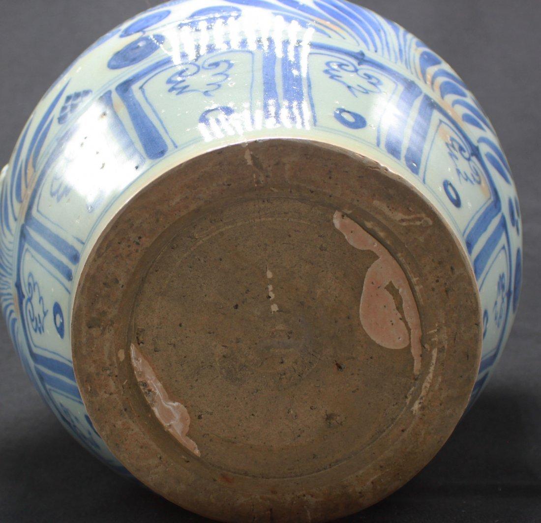 Antique Chinese Large Porcelain White & Blue Jar - 2