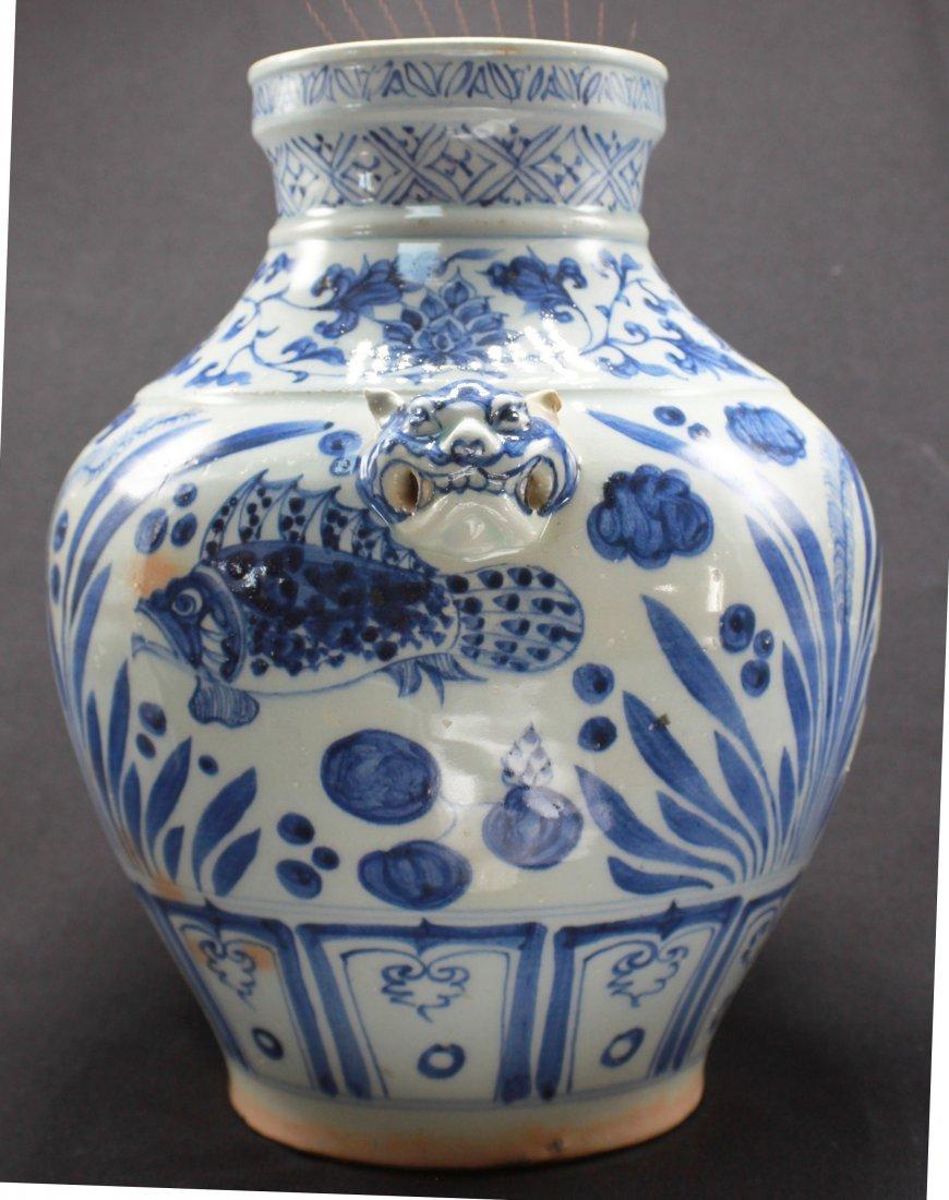 Antique Chinese Large Porcelain White & Blue Jar - 3