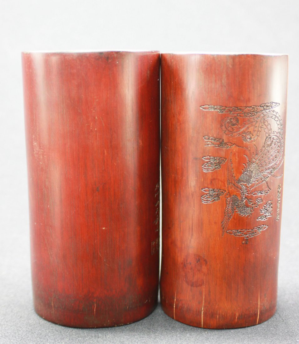 Pair of 19th Century Carved Bamboo Brush Holders - 4