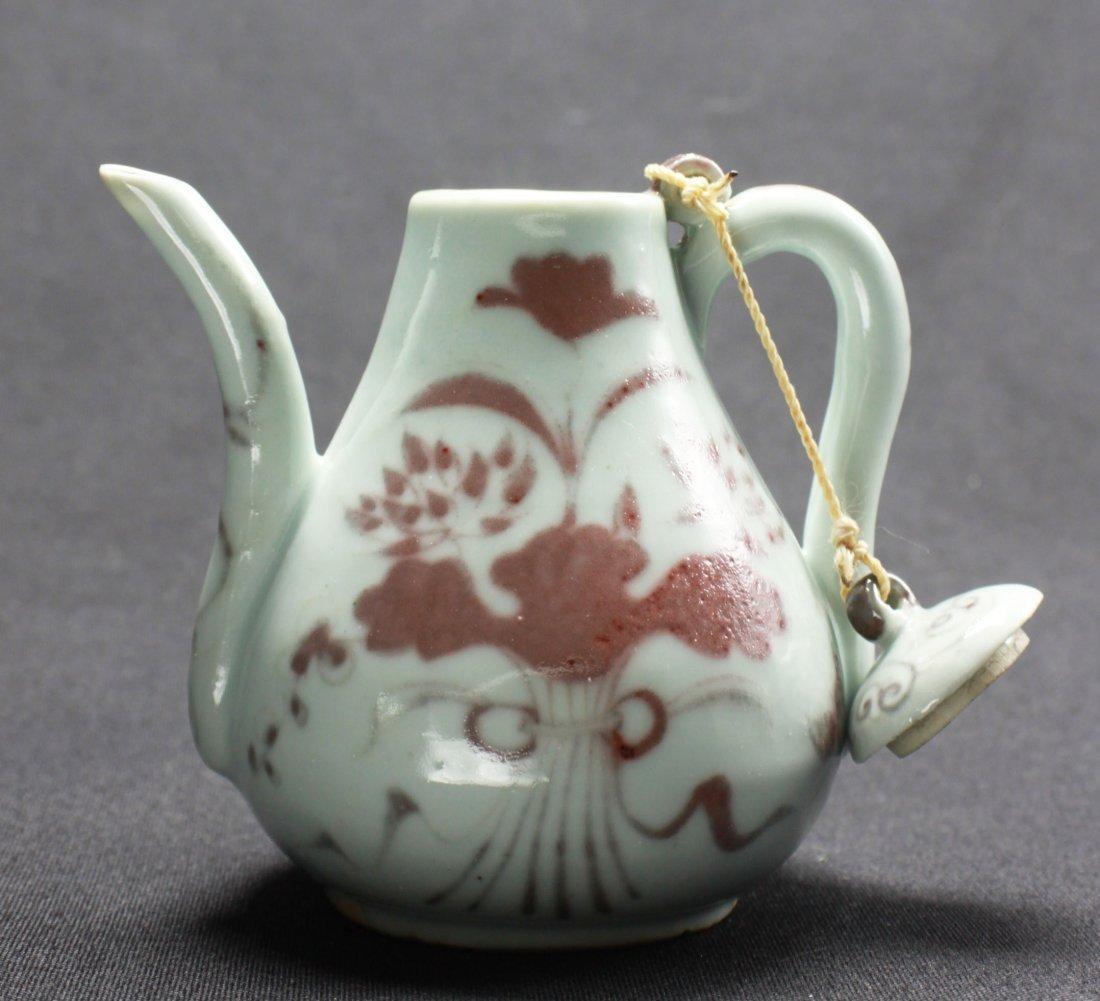 "Chinese Antique Red underglaze Porcelain Teapot 5"""