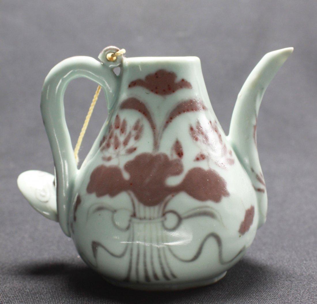 "Chinese Antique Red underglaze Porcelain Teapot 5"" - 2"