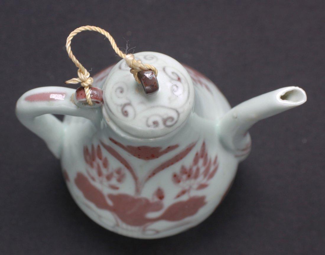 "Chinese Antique Red underglaze Porcelain Teapot 5"" - 4"