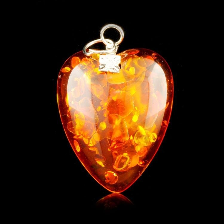 Chinese Natural Amber Heart Pendant 1.25 in